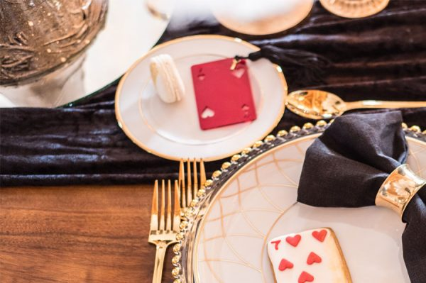 black, gold and red tablescape