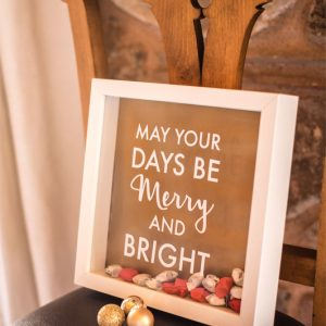 Christmas frame with origami stars
