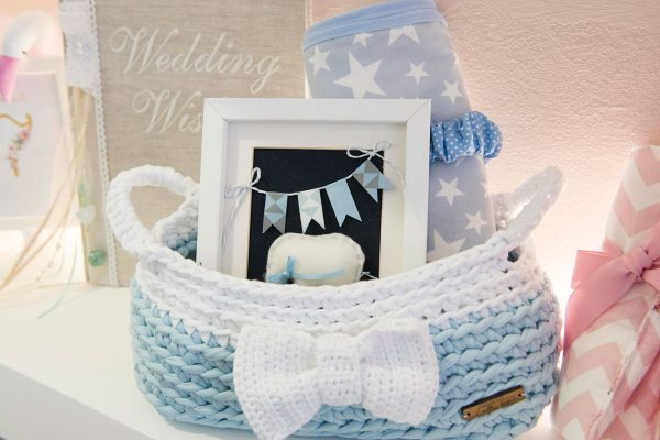 gift set with handmade frame, blanket, pacifier clip