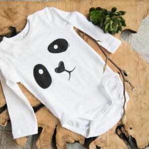 baby, panda, hand painted bodysuit