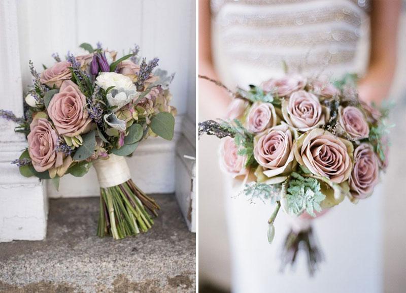 dusty pink bridal bouquet, νυφική ανθοδέσμη