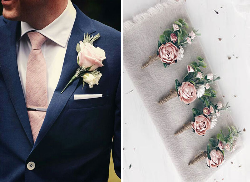 dusty pink boutonniere