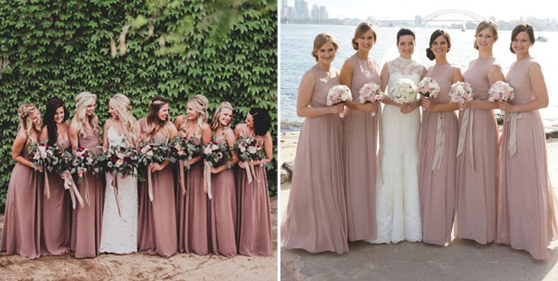dusty pink bridesmaids dresses