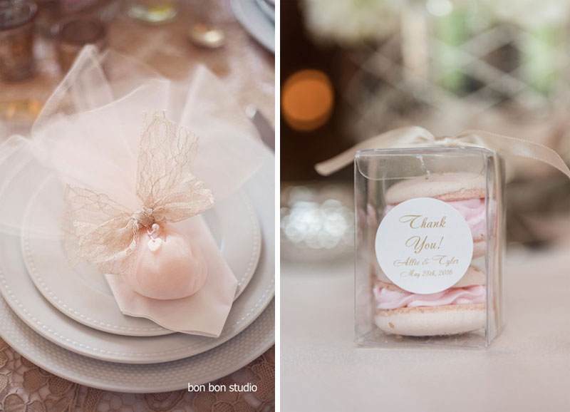 wedding fabors, dusty pink