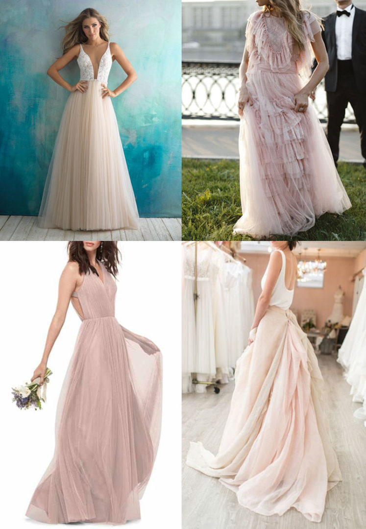wedding gowns dusty pink, νυφικά
